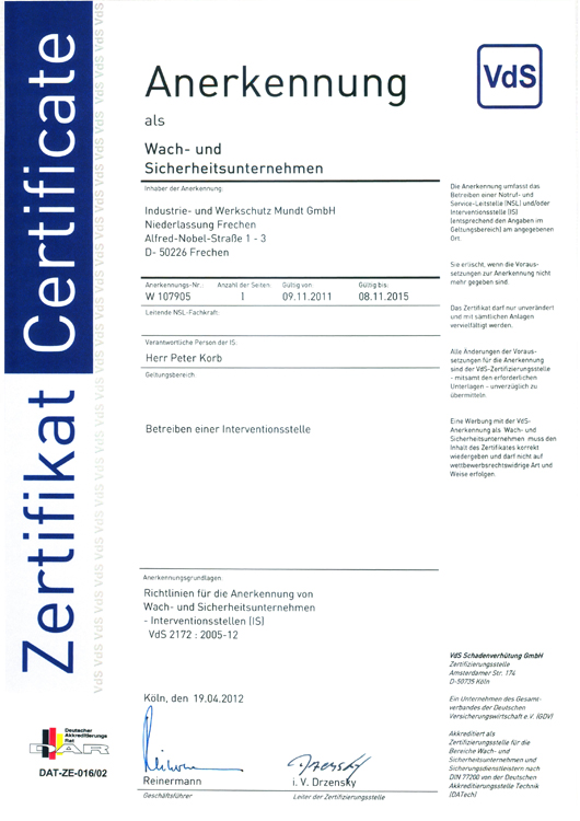 Zertifikat VdS 2172:2005-12