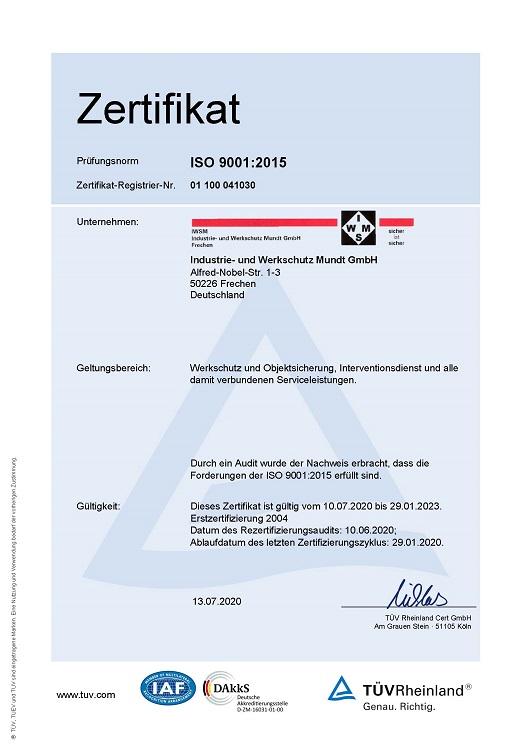 Zertifikat ISO 9001:2015 DE
